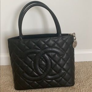 Large Black Chanel Caviar Quilted Medallion Tote